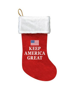 "Trump Red and White ""KEEP AMERICA GREAT"" Christmas Stocking, SG0225"