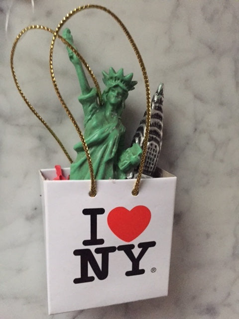 I Love New York Shopping Bag Ornament with Statue of Liberty, Chrysler, S1842