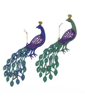 Glitter Peacock Ornaments, 2 Assorted, T0905