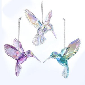 Acrylic Iridescent Hummingbird Ornament, Set of 3, T2031