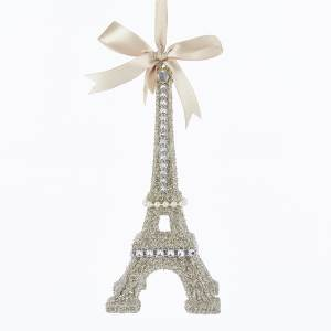 Vintage Glamour Platinum Gold & Silver Eiffel Tower Ornament, T2185