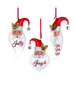 Glass Santa Head Ornament with Jingle, 3 Assorted