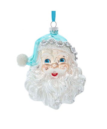 Glass Blue and Silver Tiffany Santa Face Head Ornament