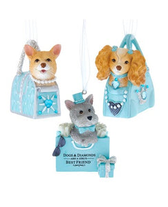 Silver, Tan and White Dog In Blue Purse Ornaments, 3 Assorted, T2764