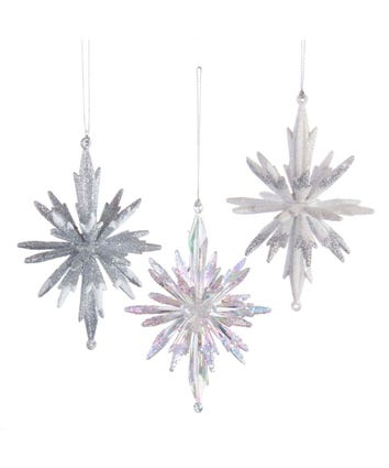 Silver and White 3D Snowflake Ornaments, 3 Assorted, T2818