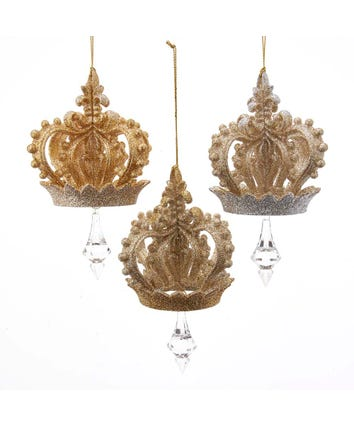 Gold and Silver Crown Glittered Ornaments, 3 Assorted, T2837