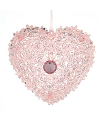 Pink Glittered Heart With Gem Ornament, T2885M