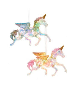 Iridescent Unicorn Wings and Glitter Ornaments, 2 Assorted, T2946