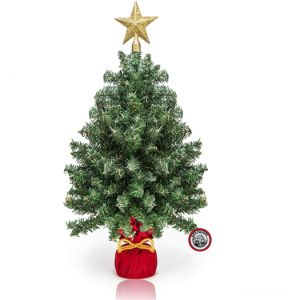18-inch Miniature Pine Artificial Trees in Red Sack