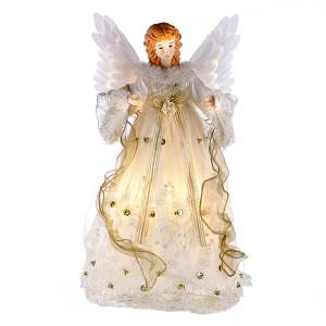 Kurt Adler Fiber-Optic Ivory and Gold Animated Angel Lighted LED Treetop, UL2184