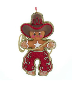 Gingerbread Resin Cowboy Ornament, W3651