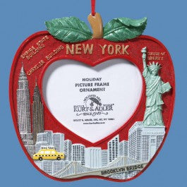 "Resin 4"" Red New York City Picture Frame Ornament with Skyline, W4046"