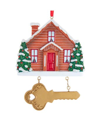 New Home With Key Ornament For Personalization, W8474