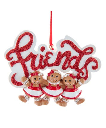 Gingerbread Girl 3 Friends Ornament For Personalization, W8495