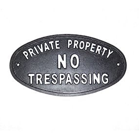 cast iron private property garden sign