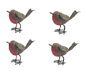 four rustic robins