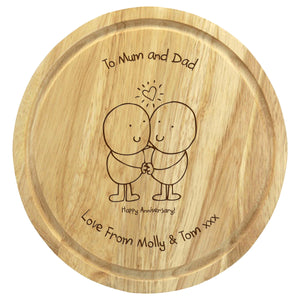 personalised round anniversary chopping board