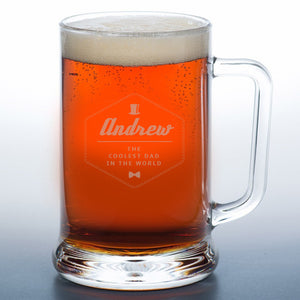 personalised coolest dad stein pint glass