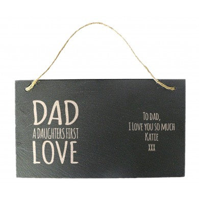 personalised dad a daughters first love hanging sign