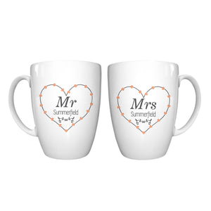 personalised mr and mrs heart mug set