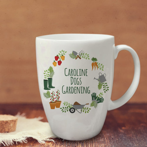 personalised digs gardening mug