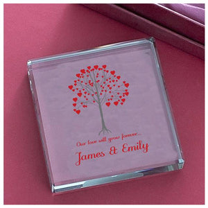 personalised growing tree glass block