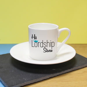 personalised his lordship espresso cup and saucer