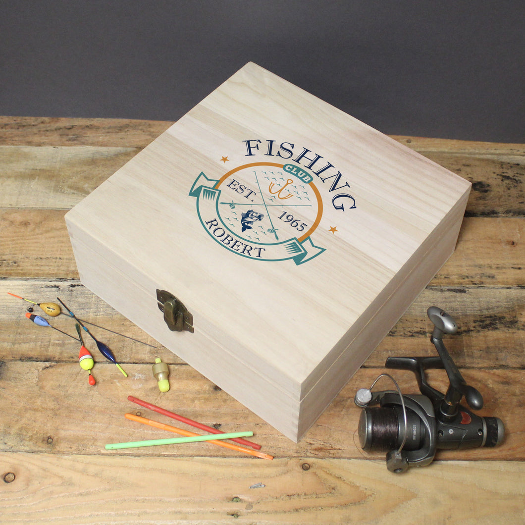 personalised fishing club wood storage box