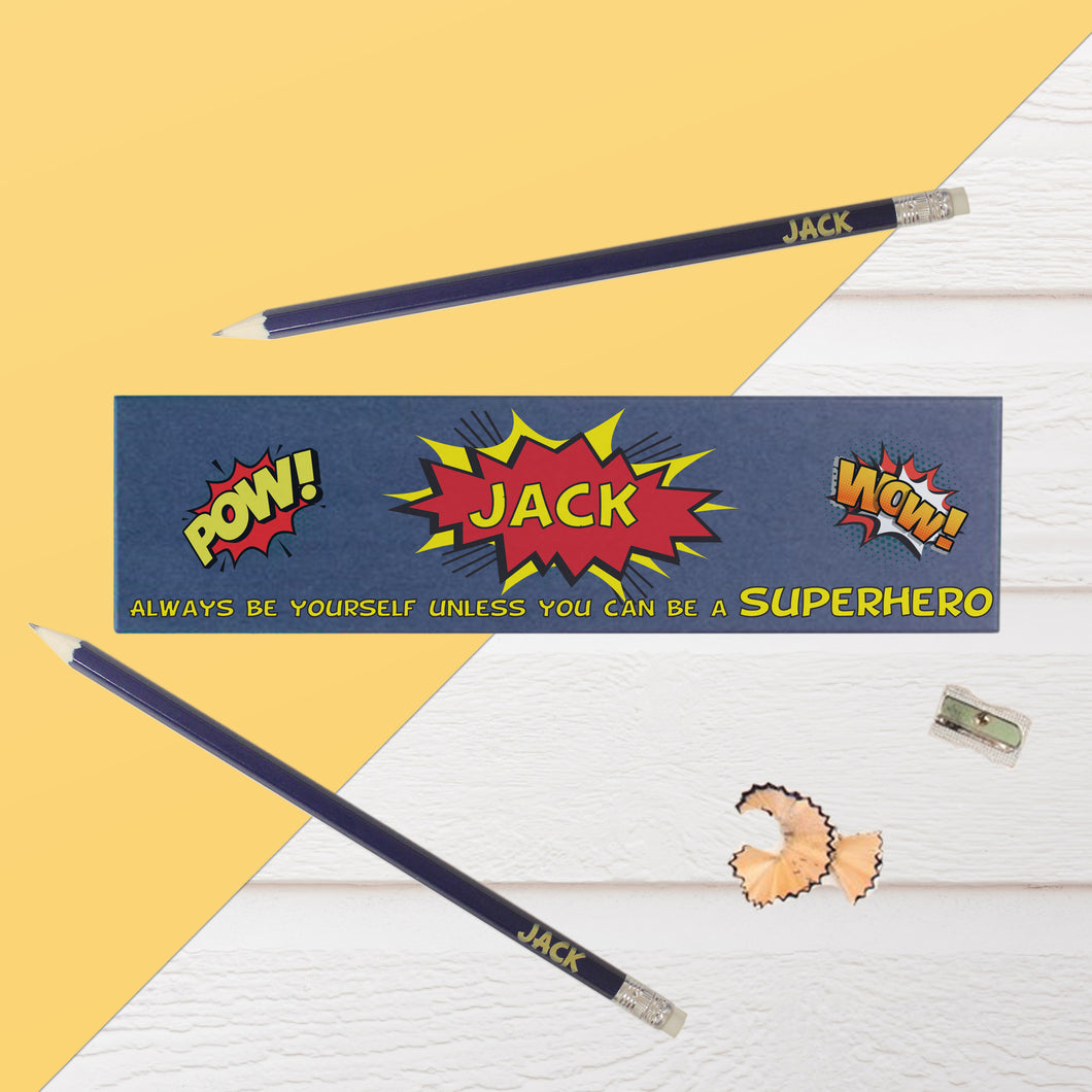 personalised super hero pencil box and pencils