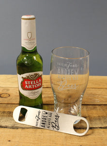 personalised stella and glass gift set