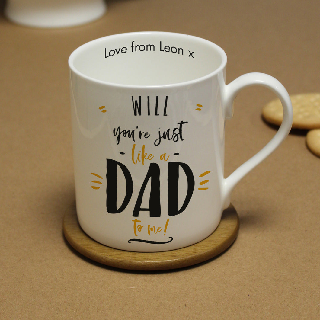 personalised just like dad mug