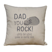 personalised you rock linen cushion