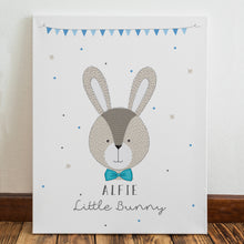 personalised little bunny canvas blue