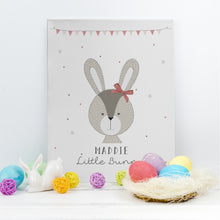 personalised little bunny canvas pink