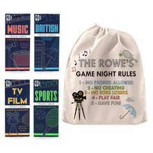 personalised cloth bag family games night