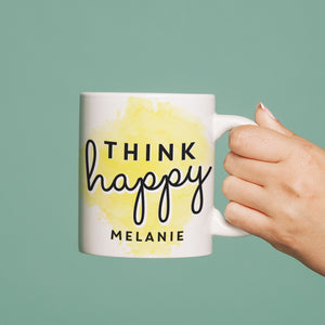 personalised think happy mug