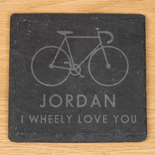 personalised wheely love you slate coaster