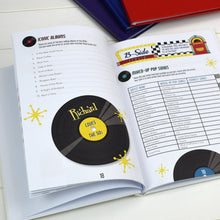 personalised fifties music quiz book