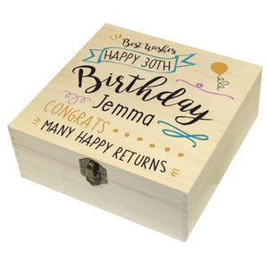 Birthday Slogan Wooden Storage Box