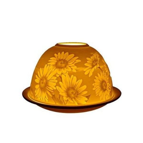 light glow daisy tea light candle holder