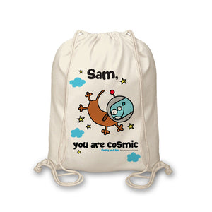 Cosmic Dog Drawstring Bag