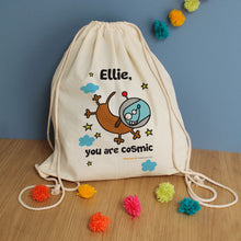 personalised cosmic dog drawstring bag