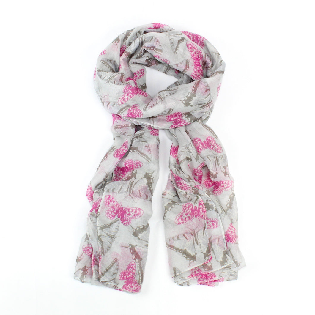 butterfly scarf grey