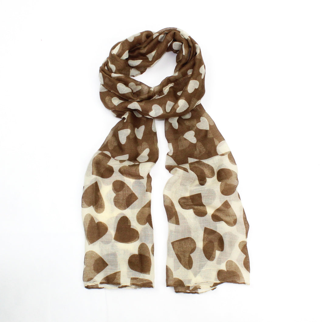 Heart Print Scarf Brown