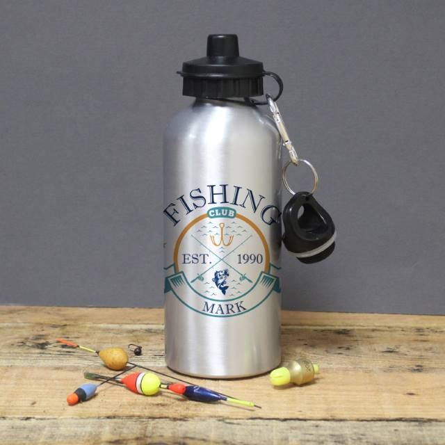 personalised fishing club silver drinks bottle
