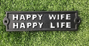 cast iron wall sign happy wife happy life