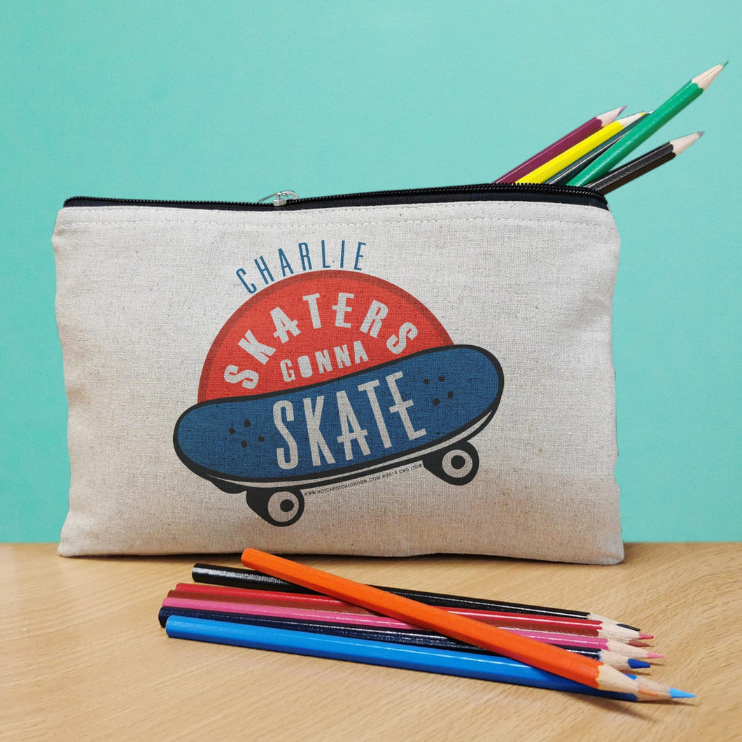 personalised pencil case with coloured pencils