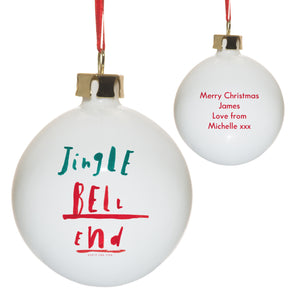 personalised jingle bell end christmas bauble