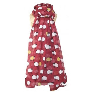 sheep scarf cranberry