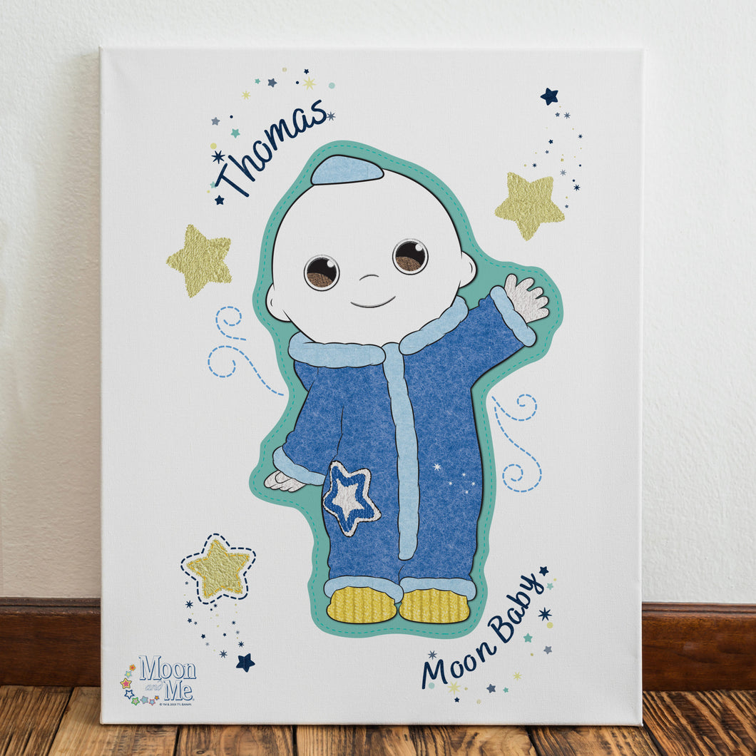 personalised moon and me baby canvas